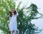 striped shift dress, free people hat, santa monica pier