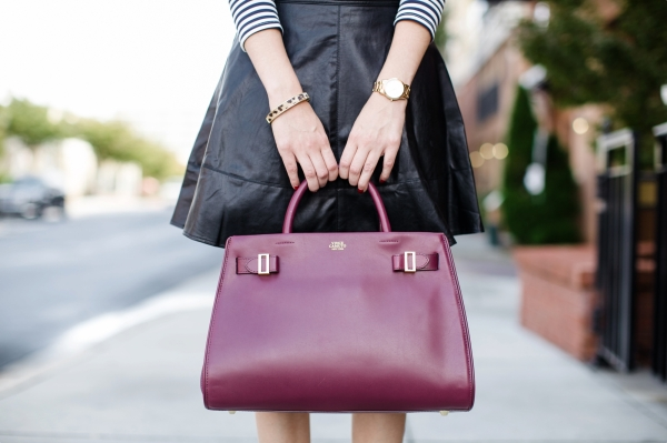 Fall Style Oxblood Vince Camuto Leather Skirt Stripes