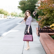 fall style, oxblood, Vince Camuto, leather skirt, stripes