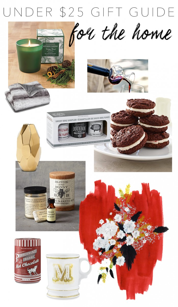home gift guide under $25, monogram mug, tide and bloom, williams-sonoma giveaway, scented candle, for mom, for your man, for your guy, for the coworker, faux fur throw blanket, DIY lotion making kit, target, nate berkus, gold vase, peppermint platinos, art, target, under $25 gift guide