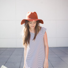 shop ruche, striped shift dress, wide brim fedora, sponsored, fall style, winter style, grey booties